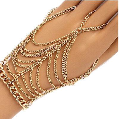 New Charms tassel Gold Plated Bracelet Slave Chain Link Finger Ring Hand Harness