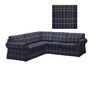 IKEA-Ektorp-COVER-for-Corner-Sofa-2-2-Sectional-SLIPCOVER-Rutna-Blue-Plaid-4Seat