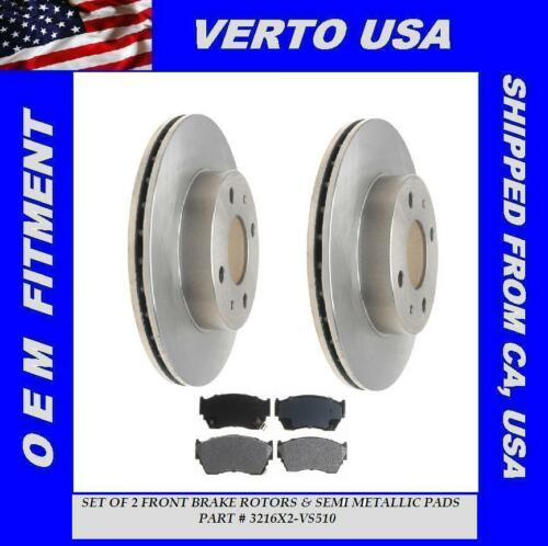 Verto USA 3216X2-VS510 Set Of 2 Front Disc Brake Rotors /& Semi Metallic Pads