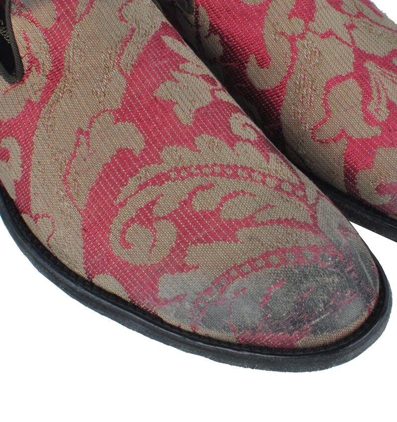 DOLCE & Seide GABBANA RUNWAY Barock Slipper Schuhe Rot Gold Seide & Baroque Schuhes 03022 163625