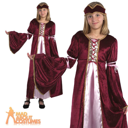 Child Renaissance Princess Costume Medieval Maid Girls Book Week Day Fancy Dress