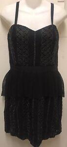 Anna-Sui-Black-Gold-Textured-Lace-Sleeveless-Peplum-Dress-SZ-10