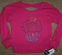 Hartstrings Candy Hearts Pink Sweatshirt Top Sparkly Studs Cupcake M 8/10