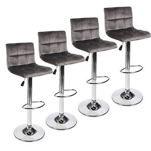 Set Of 4 Bar Stool Velvet Fabric Swivel Hydraulic Adjustable Counter