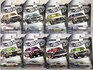 Zamac-set-8-cars-50th-Anniversary-Chevy-ford-dogde-1-64-Hot-Wheels-frn23