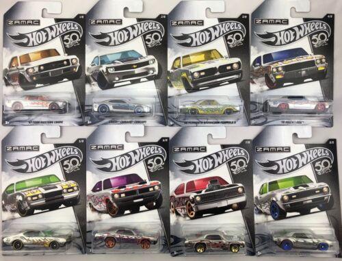 ZAMAC Set 8 CARS//50th ANNIVERSARY//Chevy Ford Dodge 1:64 HOT WHEELS frn23