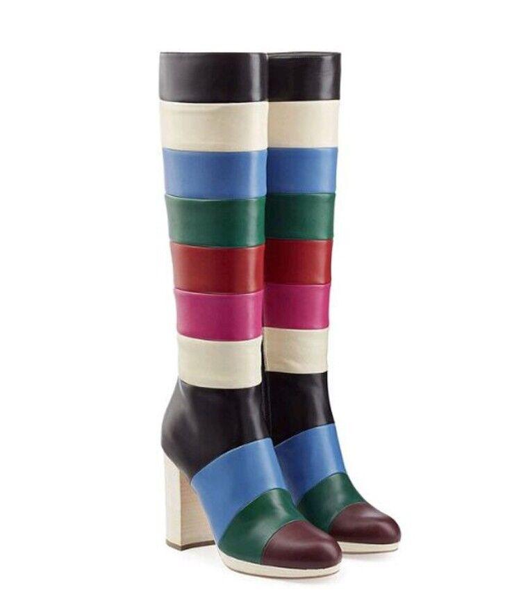 Mujer señoras de moda PU MultiColor Bloque talón talón talón a la Rodilla Zapatos botas de montar xunl  venta caliente