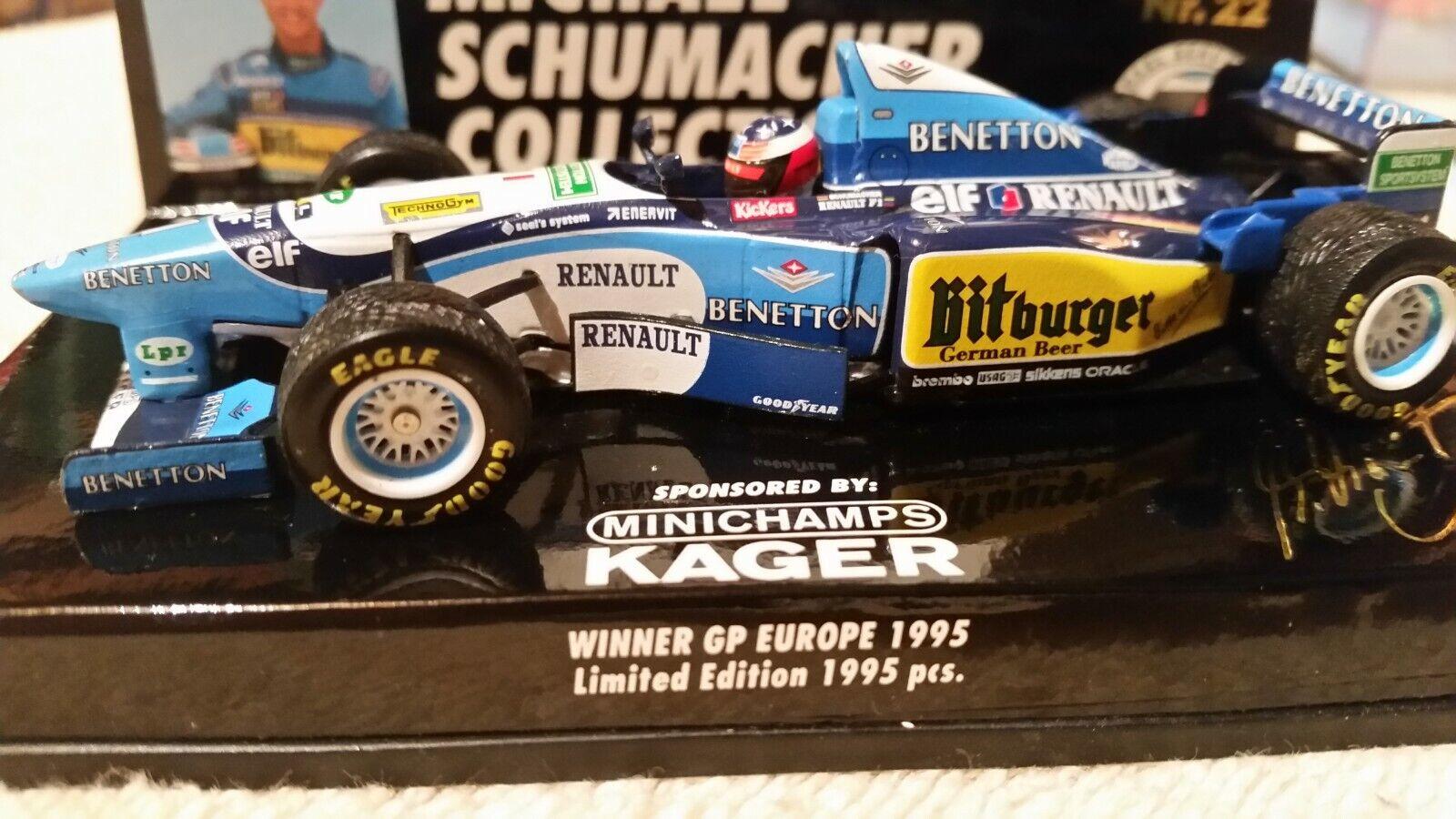 autorización oficial Minichamps BENETTON FORD B195 F1 F1 F1 M. Schumacher  1, ganador Miss Europa 1995 1 43  22  ventas directas de fábrica