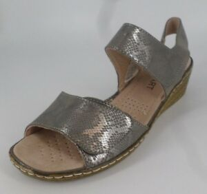 new appearance detailed look really cheap Details about Damart Two Part Wedge Sandals Pewter Size UK 7 EU 41 E-Fit  NH086 AA 04