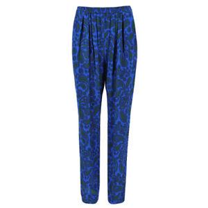Stella-McCartney-Blue-Green-Silk-Patterned-Trousers-Pants-IT40-UK8