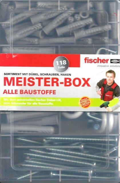 Fischer Meisterbox 120629, Meister-Box 118 Teile UX-Dübel + Schrauben + Haken