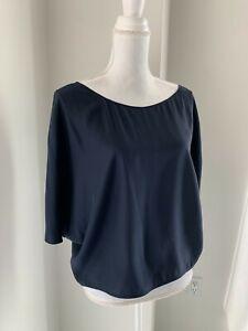 Vince Navy Blue Dolman Sleeve Silk Top Blouse SZ S