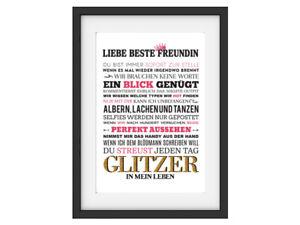 Interluxe Kunstdruck Liebe Beste Freundin Geschenk Weihnachten Frau