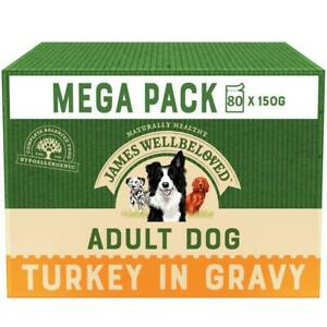80 x 150g James Wellbeloved Adult Natural Dog Food Pouches Turkey &Rice in Gravy