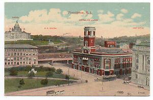 1910 Postcard Providence RI Central Fire Station