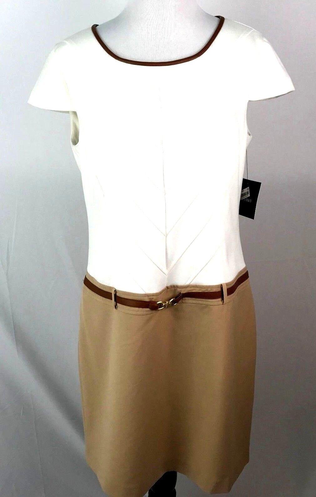 NWT Women's Ellen Tracy Ivory Tan Faux Leather Trim Dress Career Sz 8  BD19