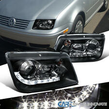 For VW 1999-2005 Jetta Bora Mk4 R8 LED DRL Projector Headlights Lamps Black Pair