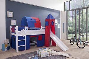 spielbett kinderbett hochbett mit rutsche vorhang turm weiss blaurot ebay. Black Bedroom Furniture Sets. Home Design Ideas