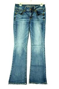 Women-039-s-American-Eagle-Kick-Boot-Stretch-Jeans-Size-6-Medium-Wash-Distressed