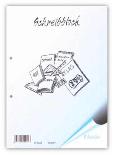 3.Schuljahr 10x Schreibblock A4 Lineatur 3 50 Blatt 80g//qm 2-fach gelocht