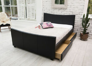 6ba6d550ca9 4 drawers leather storage sleigh bed double or king size beds + ...