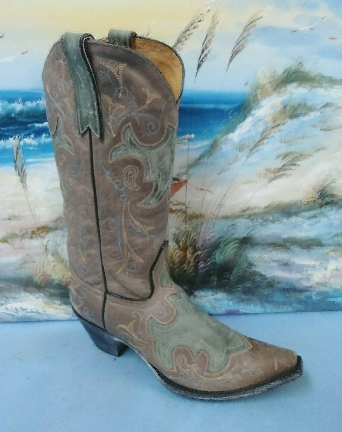 Sterling Río Bordado marrón botas De Vaquero Estilo De Cuero Para Mujer B 7.5 68915