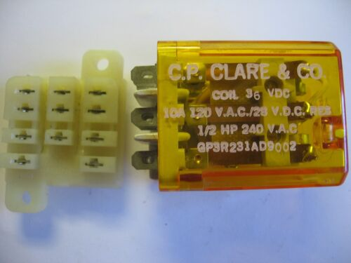 CP Clare General Purpose 11 Blade GP3R231AD9002 3PDT Relay 36 V DC Coil w// Base