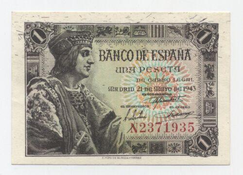 Spain España 1 Pesetas 21-5-1943 Pick 126.a UNC Uncirculated Banknote Serie N
