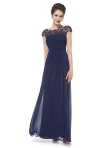 Ever-Pretty Cocktail Evening Party Long Maxi Dress Winter 09993 Size 4 Navy Blue 16