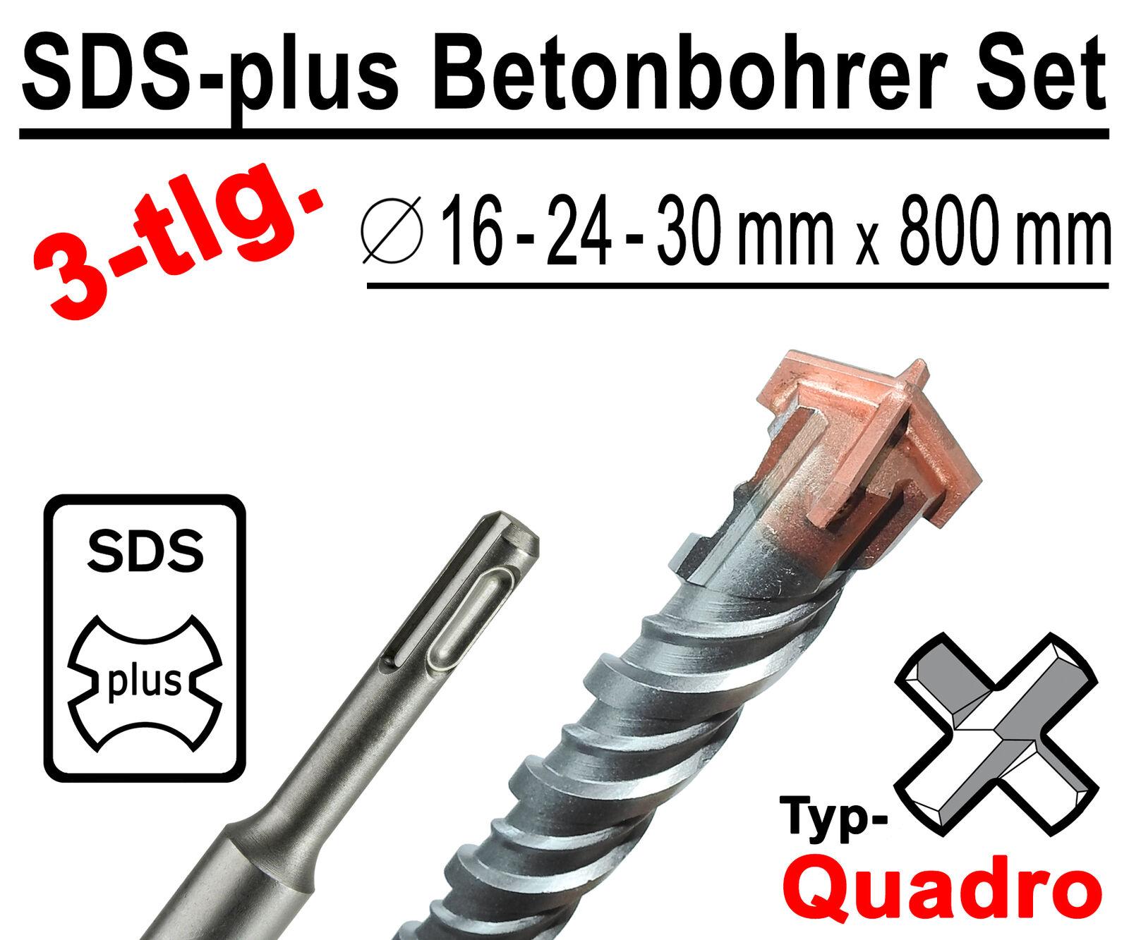 SDS-plus Betonbohrer Set 3-tlg Quadro Bohrer Hammerbohrer 16mm 24mm 30mm x 800mm