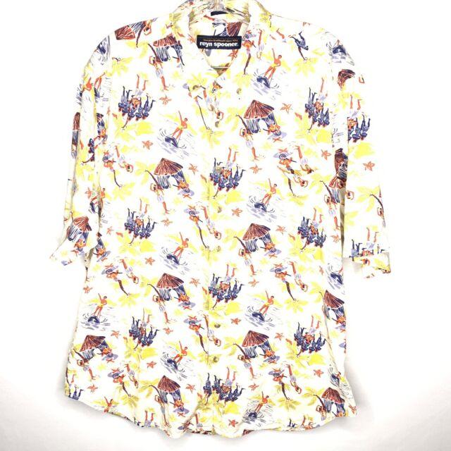 Vintage REYN SPOONER Hawaiian Ukelele Hut Palm Print Egyptian Cotton Shirt Sz M