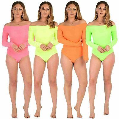 Womens  short sleeve off shoulder neon pink yellow green ladies bodysuit 8-14
