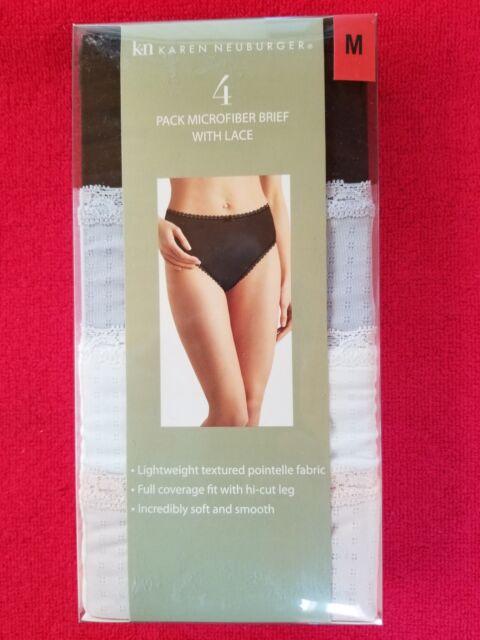 4 Karen Neuburger Womens Microfiber Pointelle Hi-Cut Brief Sz S-XL No Box