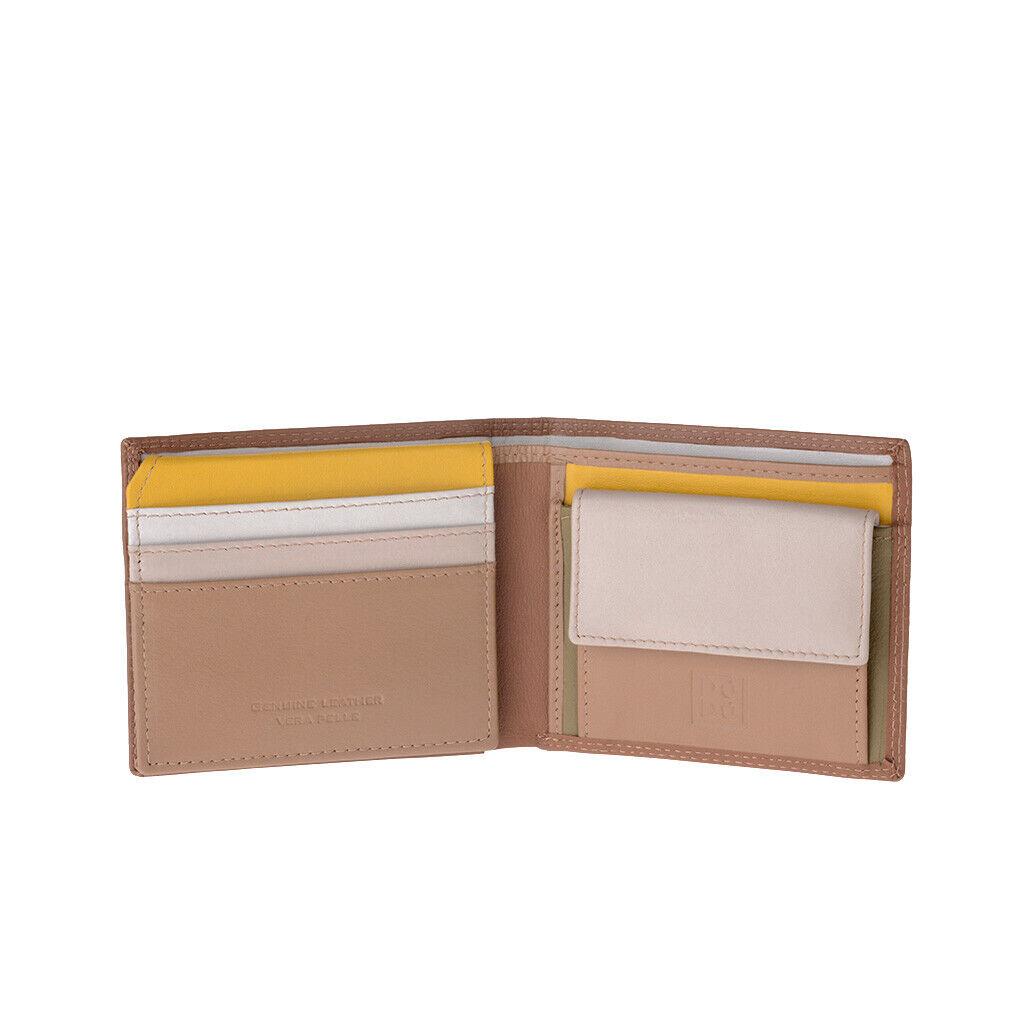 DUDU Kleines Herren Portemonnaie RFID in Leder mit Münzfach
