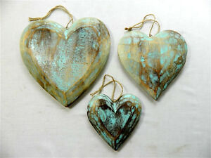 Strange Details About Wooden Hanging Heart Wall Art Set Of 3 Shabby Chic Hearts Vintage Blue Home Interior And Landscaping Ponolsignezvosmurscom