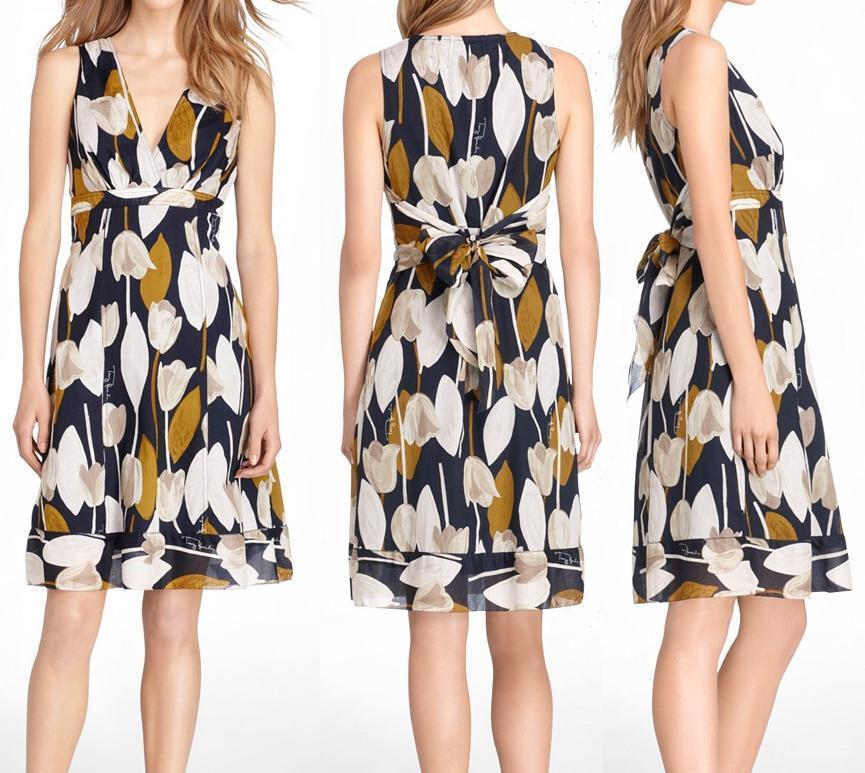 Nuevo con etiquetas Tory Burch Tulipán Impresión de Algodón  Vestido Talla 4  moda clasica