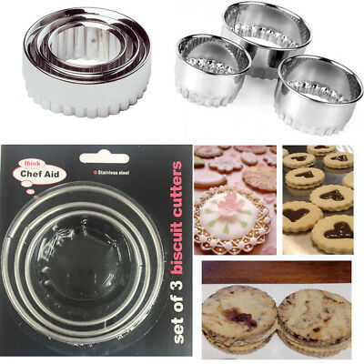 Tala Pastry Cutters Crinkled Stainless Steel Set of 3 Tarts Mince Pies Quiches