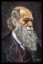 Charles Darwin in Palette Knife oil painting. Very Textured, Large, English,