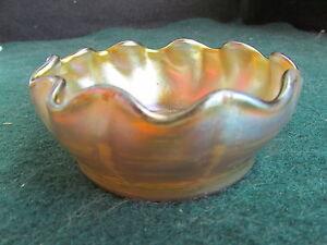 Tiffany Gold Favrile Ruffled Rim Salt