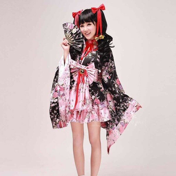 Japanese Anime Cosplay Kimono Lolita Maid Costume Beautiful Dress