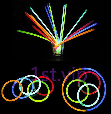 "PARTY DISCO 100 x 8"" GLOW STICKS BRACELETS NECKLACES NEON COLOURS  UK STOCK"