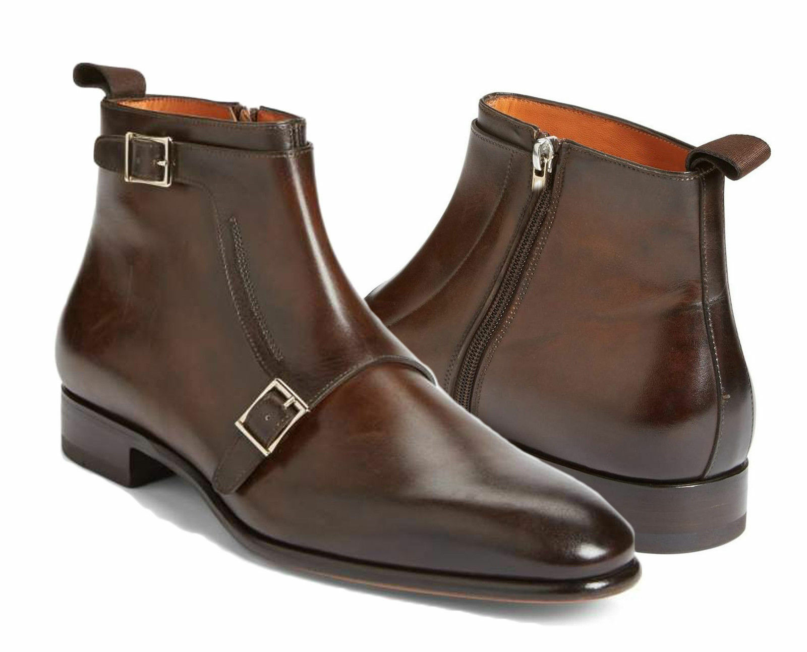 Handmade Men brown boots double Monk Strap Boot Side Zip Up Boots Leather Sole