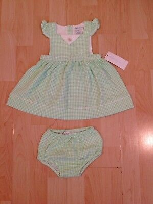 Girls' Clothing (newborn-5t) Intelligent Ralph Lauren Girl's Green Gingham Pinafore Dress & Knickers For 6 Months Bnwt