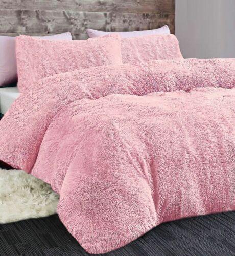 Cuddly Bear Fleece Faux Fur Duvet Cover Set Fluffy Warm Fuzzy Cosy Bedding Blush