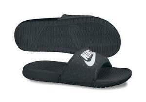 7d6e8dd34d01 Women s Nike Benassi JDI 343881 Black Slides Fashion Slip on Sandals Shoes 9