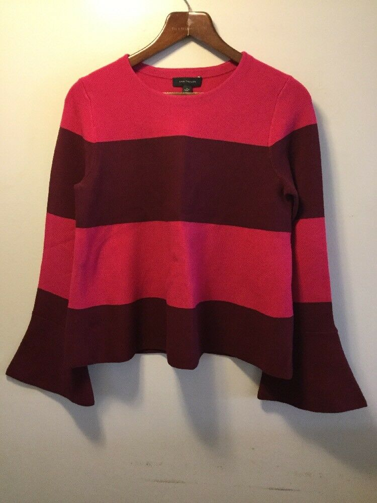 Ann Taylor Sweater Women's Medium Bell Sleeve Striped M Magenta Maroon NWT