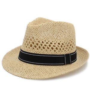 4d3ae4554e8 Men Women Straw Fedora Hats Trilby Sunhat Summer Beach Panama Jazz ...