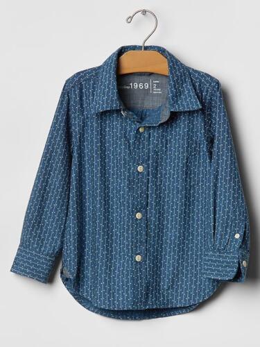 New Baby Boys Gap Blue Dot Stripe Chambray Dress Shirt 18-24 months  $33