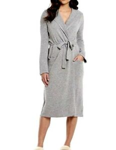 Image is loading UGG-GREY-HEATHER-EVIE-100-CASHMERE-BELTED-ROBE- f62064eaa