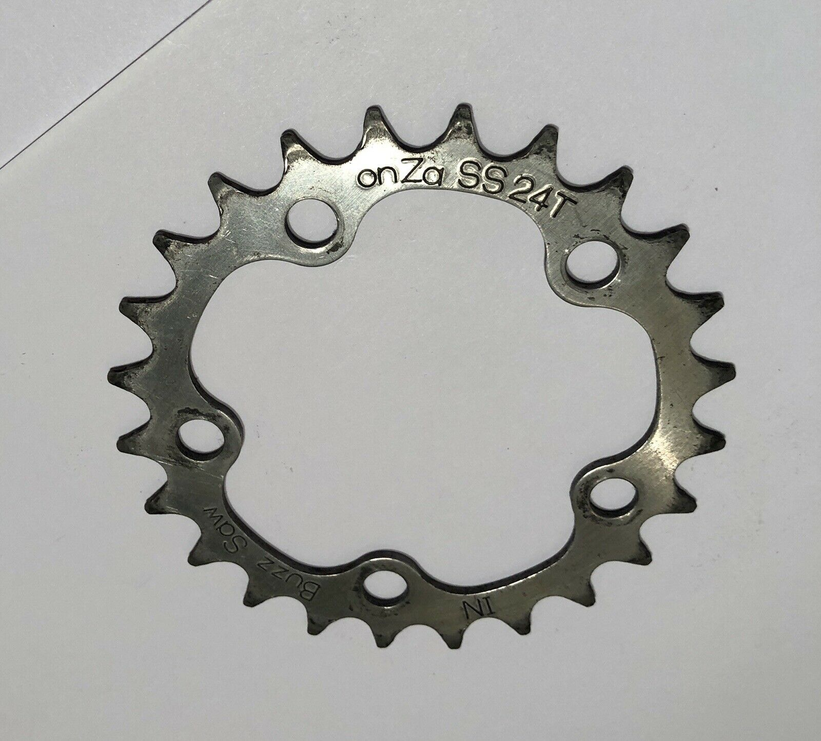 VERY RARE ONZA BUZZ SAW 24T 5 BOLT 74 BCD STAINLESS STEEL GRANNY GEAR CHAIN RING
